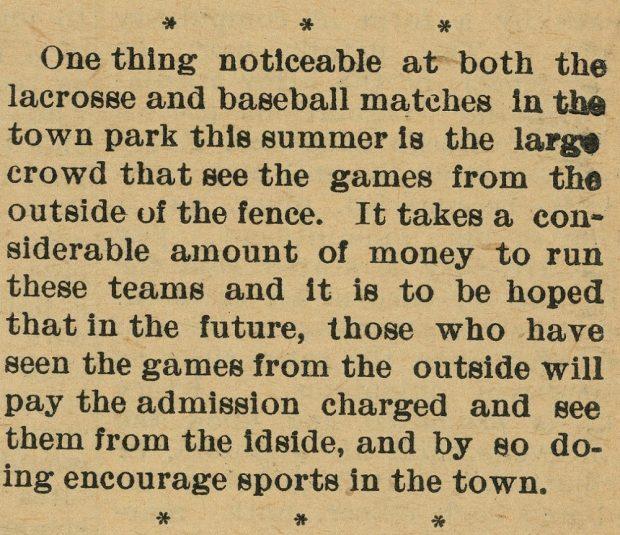 Coupure de presse parlant des foules qui regardaient des matchs de la crosse et de baseball sans payer.