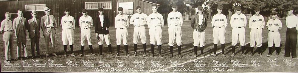 Photo panoramique en noir et blanc de 17 hommes alignés sur une pelouse, tous sauf quatre  à gauche portent un uniforme avec le nom de chaque joueur, juste en dessous.  À l'arrière des arbres et un bâtiment en bois.