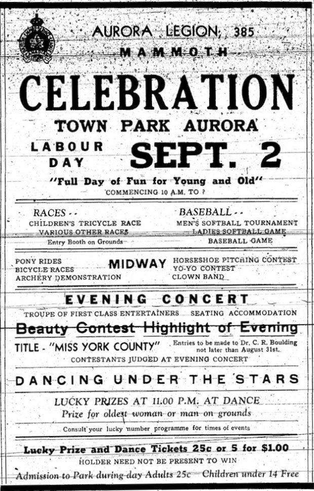 Cette coupure de presse montre une affiche publicitaire en noir et blanc pour le Carnaval de la Légion d'Aurora.  On y voit l'emblème de la légion dans le coin supérieur gauche ainsi qu'une description des festivités.