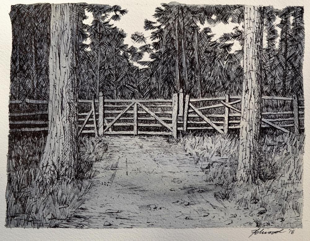 Dessin à l'encre représentant le portail d'une ferme flanqué de deux arbres avec une forêt à l'arrière.