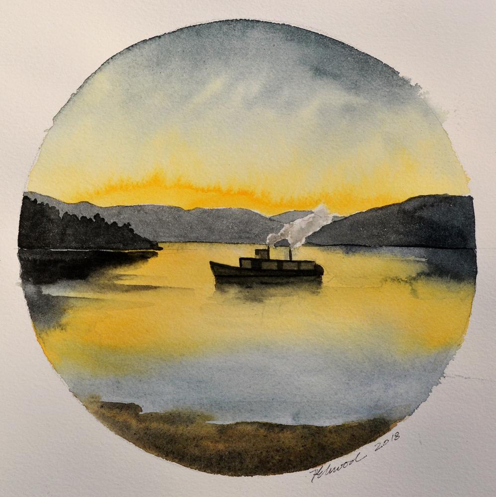 Aquarelle ronde représentant un petit bateau à vapeur sur un lac au crépuscule sur un fond de collines.