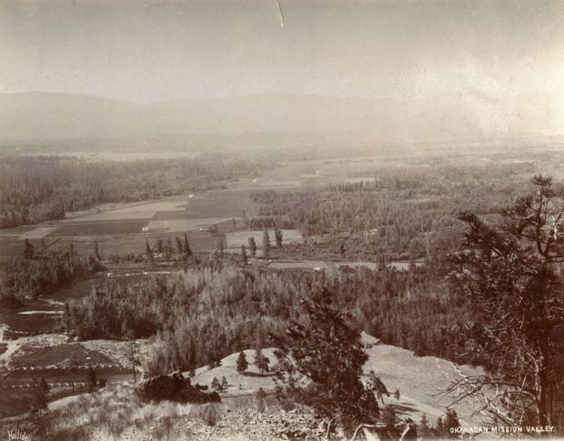 Photo en noir et blanc prise depuis le haut d'une colline montrant un large panorama de la vallée avec ses champs et ses espaces boisés.