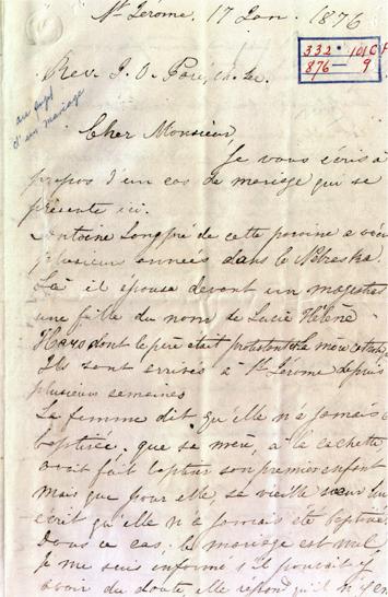 Lettre écrite à la main datée de 1876