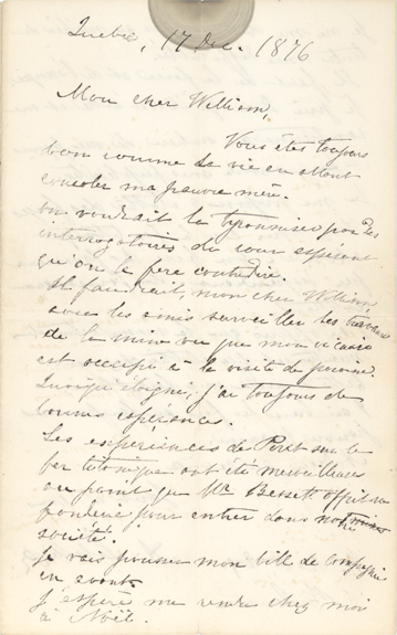 Lettre manuscrite du curé Labelle à William Scott