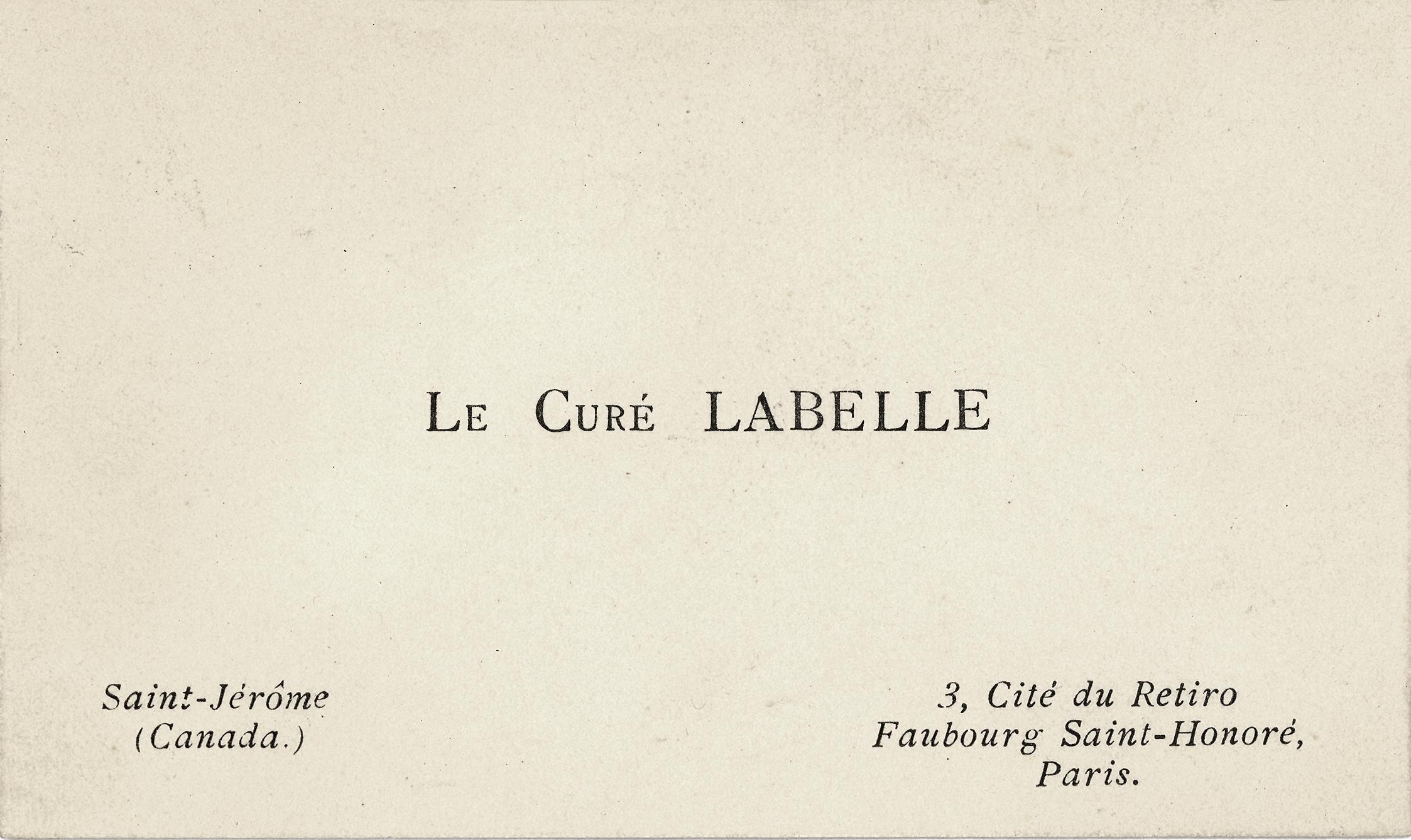 Carte De Visite Du Cur Labelle