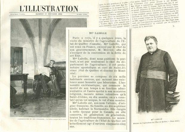 Montage photographique de trois coupures de presse de journaux français de 1890. À gauche, une gravure imprimée d'un homme assis lisant un journal. Au centre, un article dont le titre est Monseigneur Labelle. À droite, une page de journal dont la partie supérieure contient du texte et la partie inférieure une gravure d'une photographie du curé Labelle.
