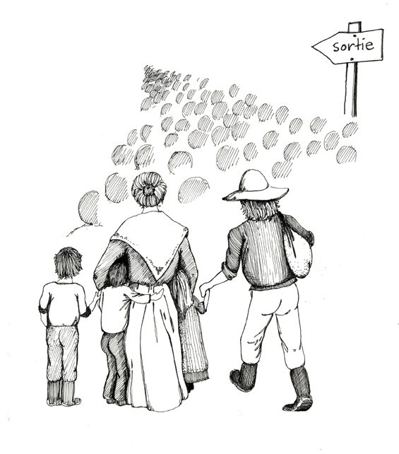Illustration de personnes se suivant vers une sortie. Seuls le père, la mère et trois enfants sont dessinés entièrement de dos. Devant eux, de petits cercles ombragés illustrent une masse de personnes se dirigeant vers un point, devant, au loin. Une pancarte indiquant « sortie » se trouve à droite de la foule.