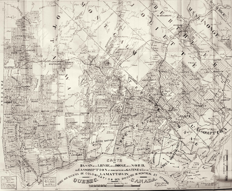 Carte montrant le territoire au nord de Montréal et les principales rivières qui s'y trouvent. Le découpage des lots est indiqué par de petits rectangles situés de part et d'autre des routes.