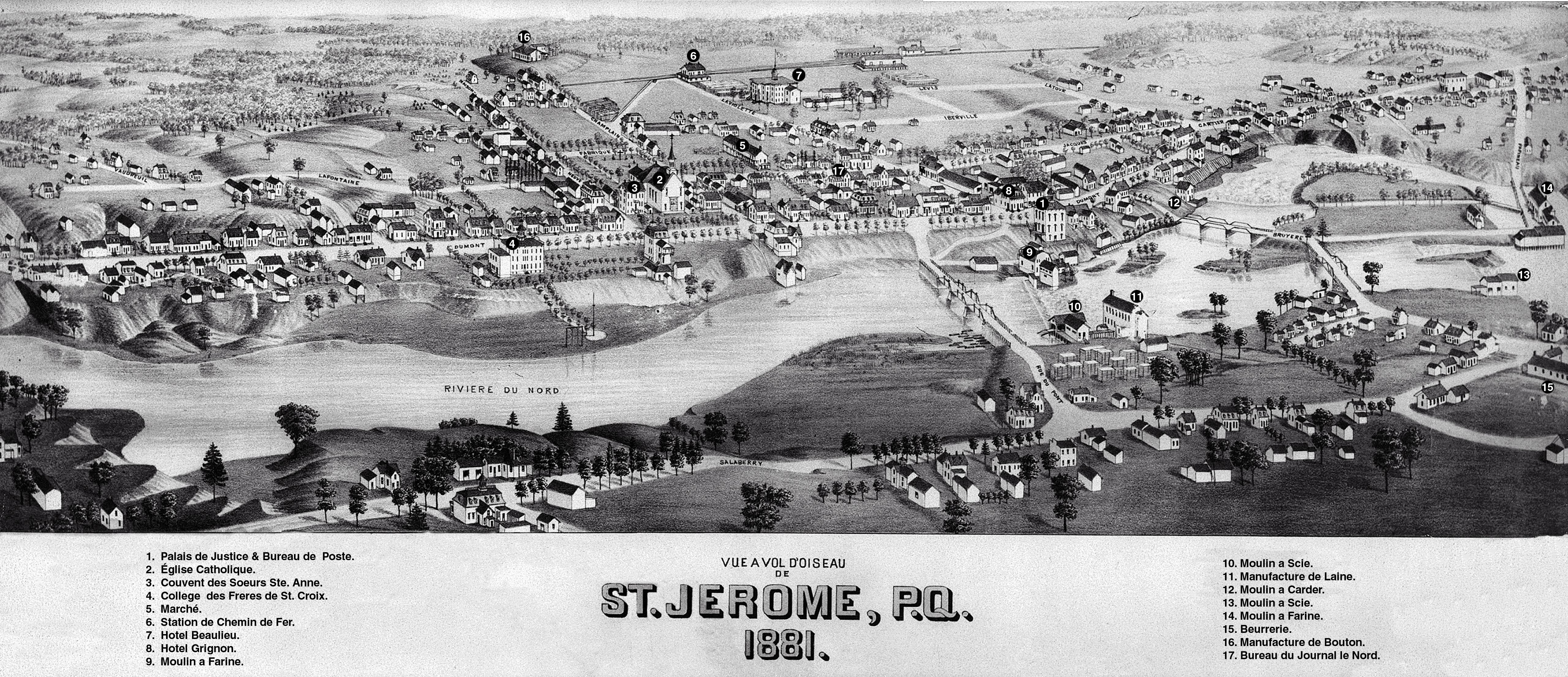 Carte illustrant une vue par le haut d'une petite ville en 1881. L'image en noir et blanc est dessinée à la main. On aperçoit quelques rues sur les deux rives d'une rivière. On y voit une église, de nombreuses maisons, des entreprises et trois ponts. Dix-sept éléments sont numérotés et répertoriés au bas de l'image.
