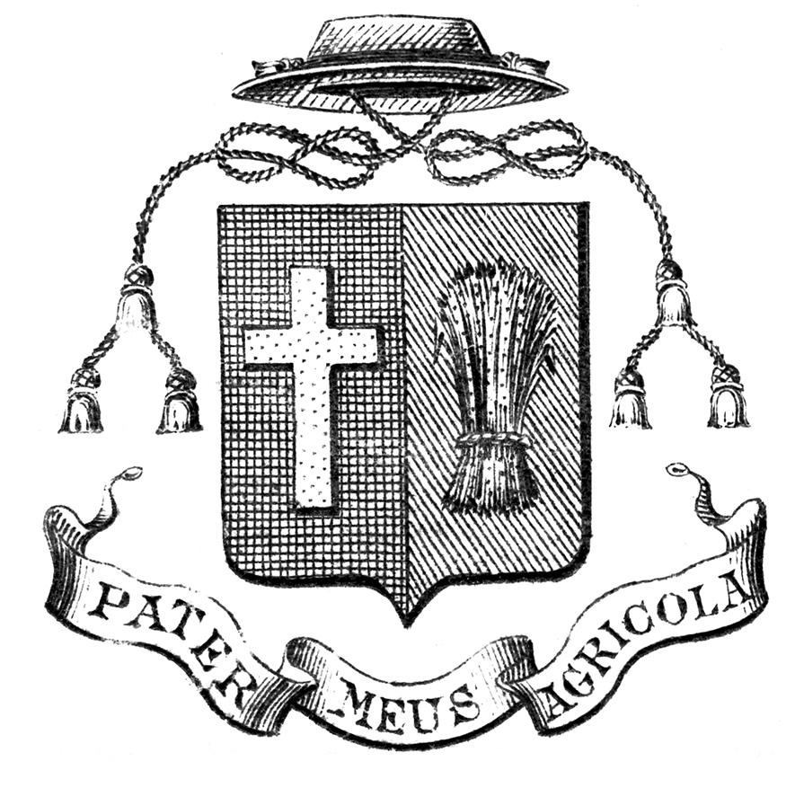 Gravures des armoiries choisies par le curé Labelle. Un carré se terminant par une pointe comprend une croix d'un côté et des tiges de blé de l'autre. Un chapeau est au-dessus du carré et un cordon tressé est au-dessus et descend sur les côtés. Dans une banderole sous le carré, sa devise est indiquée.