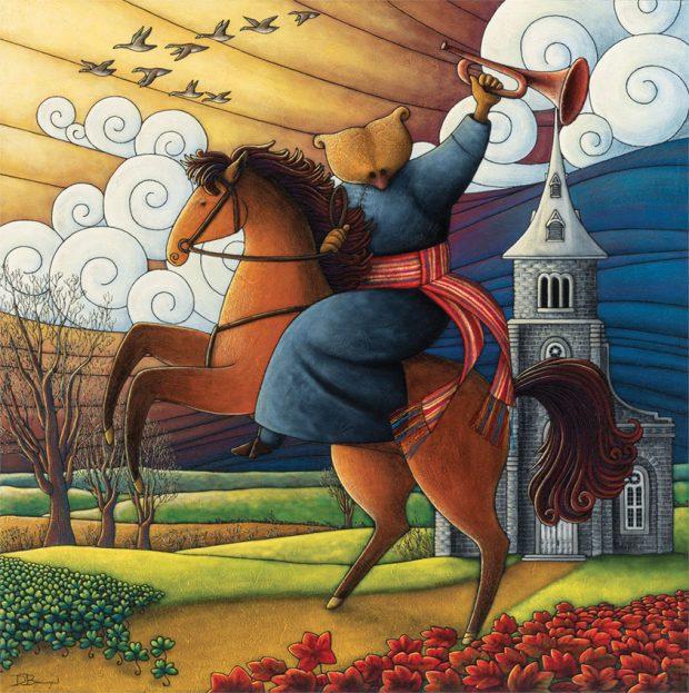 Peinture figurative illustrant le curé Labelle sous les traits d'un ours en soutane assis sur un cheval, un clairon à la main. À la taille, il porte une ceinture fléchée. Une église figure en arrière-plan.