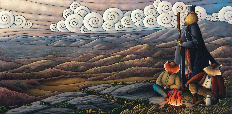 Peinture figurative illustrant le curé Labelle sous les traits d'un ours en soutane. Debout, un bâton de marche à la main, il regarde au loin les montagnes qui l'entourent à perte de vue. Assis près de lui, un renard et un loup se réchauffent près d'un feu.