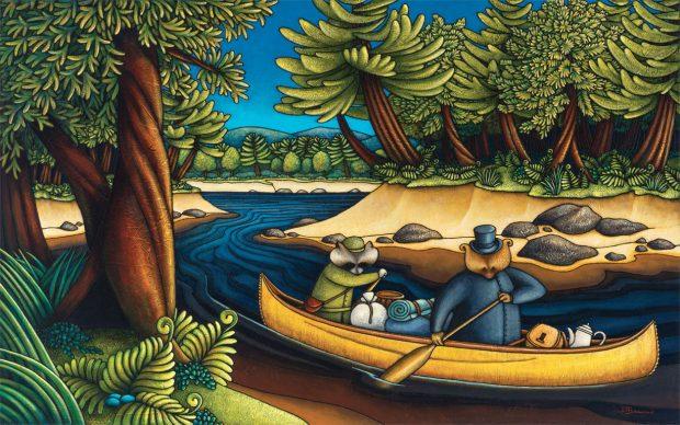 Peinture figurative illustrant le curé Labelle sous les traits d'un ours en soutane, dans un canot rempli de bagages, accompagné d'un raton laveur. Les deux personnages pagayent. La forêt entoure la rivière sablonneuse.