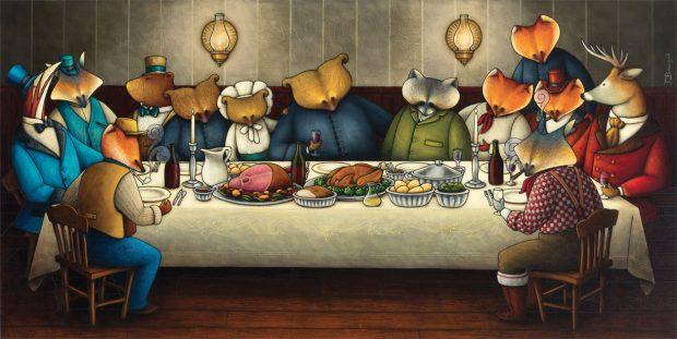 Peinture figurative illustrant le curé Labelle sous les traits d'un ours en soutane entouré de ses collaborateurs autour d'une table. Les personnages sont représentés par différents animaux de la forêt canadienne : ours, renard, raton laveur, cerf, bécasse.