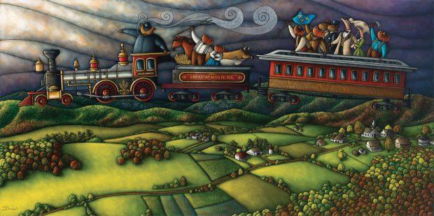 Peinture figurative illustrant le curé Labelle sous les traits d'un ours en soutane à bord d'un train qui vole dans le ciel. Le train surplombant des terres agricoles et un village. Les passagers des deux wagons sont des personnages sont représentés par différents animaux de la forêt canadienne : ours, renard, raton laveur, cerf, bécasse.