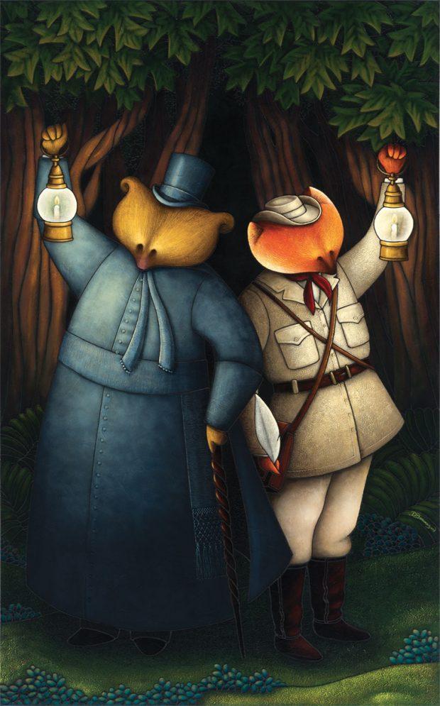 Peinture figurative illustrant le curé Labelle sous les traits d'un ours en soutane au côté d'un renard habillé en vêtements de voyage. Les deux personnages tiennent chacun une lanterne devant eux et sont devant des arbres.