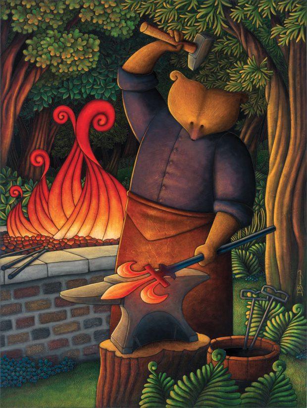 Peinture figurative illustrant le curé Labelle sous les traits d'un ours en soutane forgeant une fleur de lis dans le métal rougi par la chaleur. D'une main, il tient un marteau et de l'autre, la tige qu'il est  en train de marteler. Un feu brûle derrière lui.