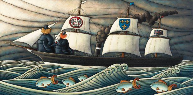 Peinture figurative illustrant le curé Labelle sous les traits d'un ours en soutane à bord d'un bateau à voile et à vapeur. Un renard qui tient un cahier et un crayon se tient à ses côtés sur le pont.