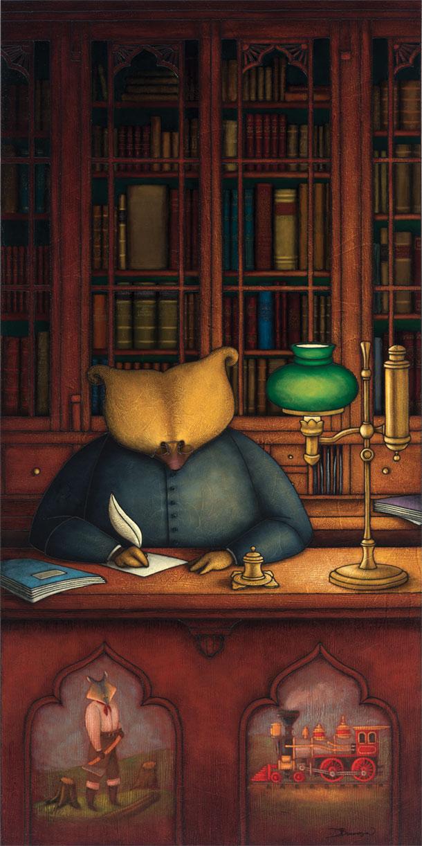 Peinture figurative illustrant le curé Labelle sous les traits d'un ours en soutane derrière un bureau de travail. Une bibliothèque pleine de livres se trouve derrière lui. Un défricheur sous les traits d'un loup et un train sont représentés sur le devant du meuble.
