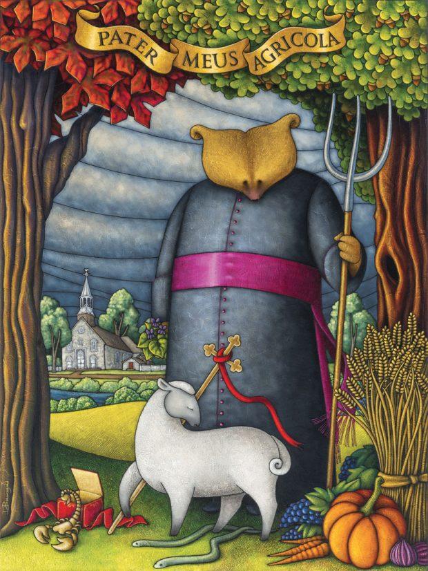 Peinture figurative illustrant le curé Labelle sous les traits d'un ours en soutane. Derrière le personnage debout, on aperçoit une rivière et une église de pierre. L'ours tient une fourche d'une main. Devant lui se trouvent un mouton, une croix, un scorpion sortant d'une boîte, deux petits serpents, des légumes et une botte de blé.