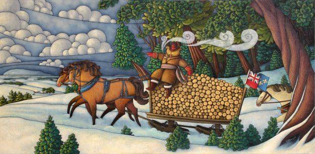 Peinture figurative illustrant le curé Labelle sous les traits d'un ours en soutane assis sur un traineau remplis de billots de bois tiré par deux chevaux. La scène se déroule en hiver.