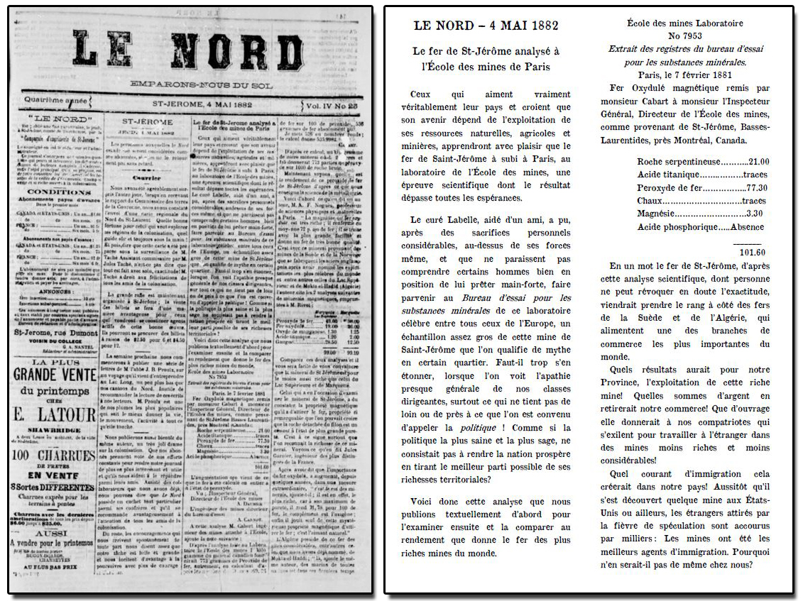 Reproduction d'un article de journal où l'on peut y lire : LE NORD – 4 mai 1882, Le fer de St-Jérôme analysé à l'École des Mines de Paris.