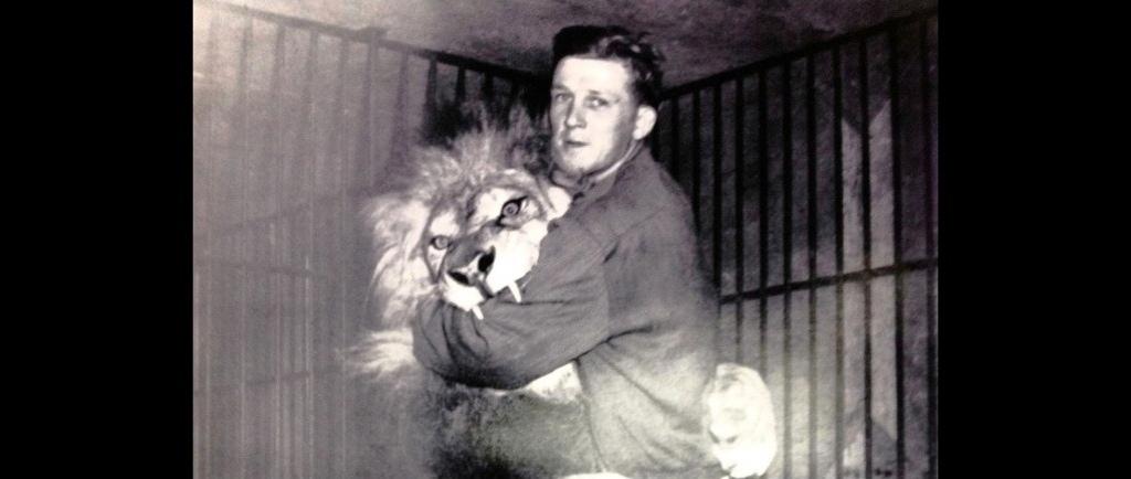 Photo en noir et blanc du jeune Bingo Hauser avec son lion Simba; ils sont tous les deux debout, Simba entoure la taille de Bingo avec ses pattes et le bras de Bingo se trouve dans la gueule grande ouverte de la bête laissant voir deux dents acérées