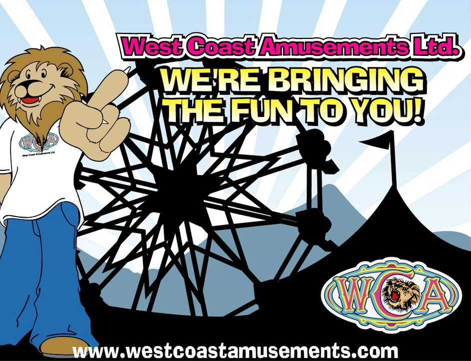 Une affiche représentant la mascotte du WCA, un lion dessiné portant un tee-shirt du WCA et des jeans bleus; en arrière-plan on voit la silhouette d'une grande tente et d'une grande roue, le logo du WCA apparaît en bas dans le coin droit