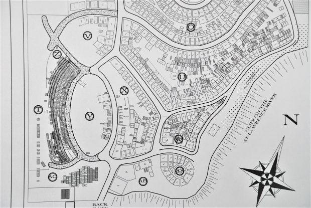 Photo noir et blanc du plan de cimetière de tous les emplacements des lots