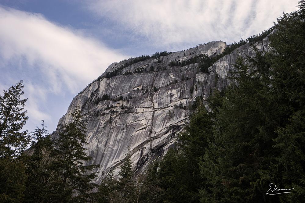 De bas en haut, vue sur une falaise escarpée très impressionnante jonchée de petits arbres à feuilles persistantes à ses extrémités. Dans l'objectif du photographe, des arbres à feuilles persistantes entourant le rocher gris de la falaise et le ciel bleu se parant de nappes de nuages blancs.