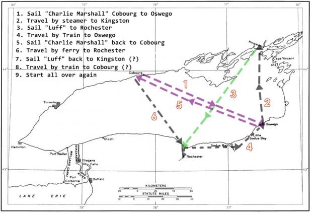 Une carte à grandes lignes du lac Ontario illustrant les routes du Charlie Marshall et du Luff.