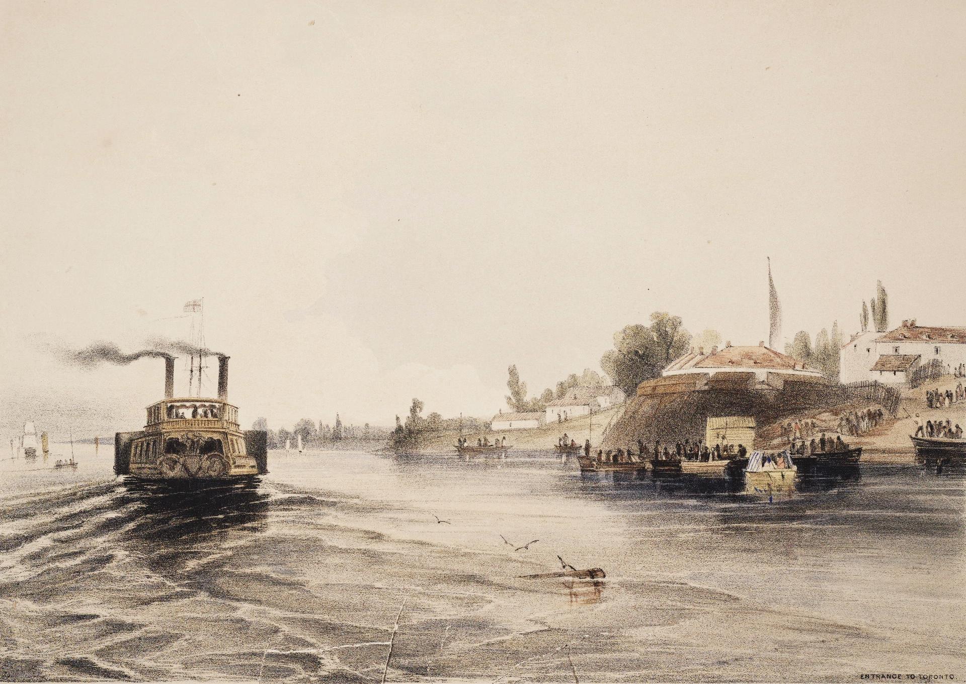 Une peinture au lavis teintée de rose d'un bateau à vapeur avec deux cheminées qui passe une fortification sur la rive droite laissant un sillage derrière lui.