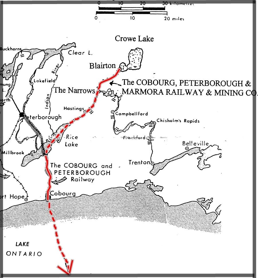 Une carte à grandes lignes de la région incluant Cobourg, Peterborough et Blaiton. Un tracé en rouge indique la route suivie pour transporter le minerai de fer de Blairton à Rochester.