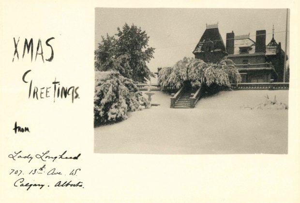 Image d'une carte de Noël avec photo de la maison Beaulieu enneigée