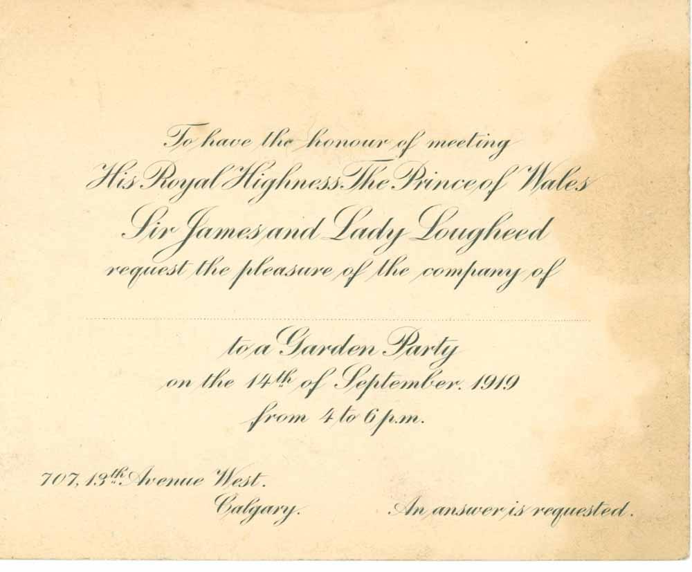 Invitation à la réception dans le jardin de Beaulieu en compagnie du prince de Galles