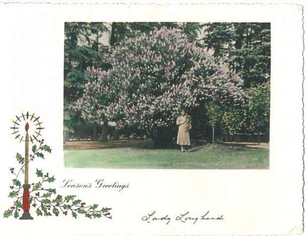 Une des cartes de Noël de Lady Lougheed montrant une photo d'elle dans le jardin