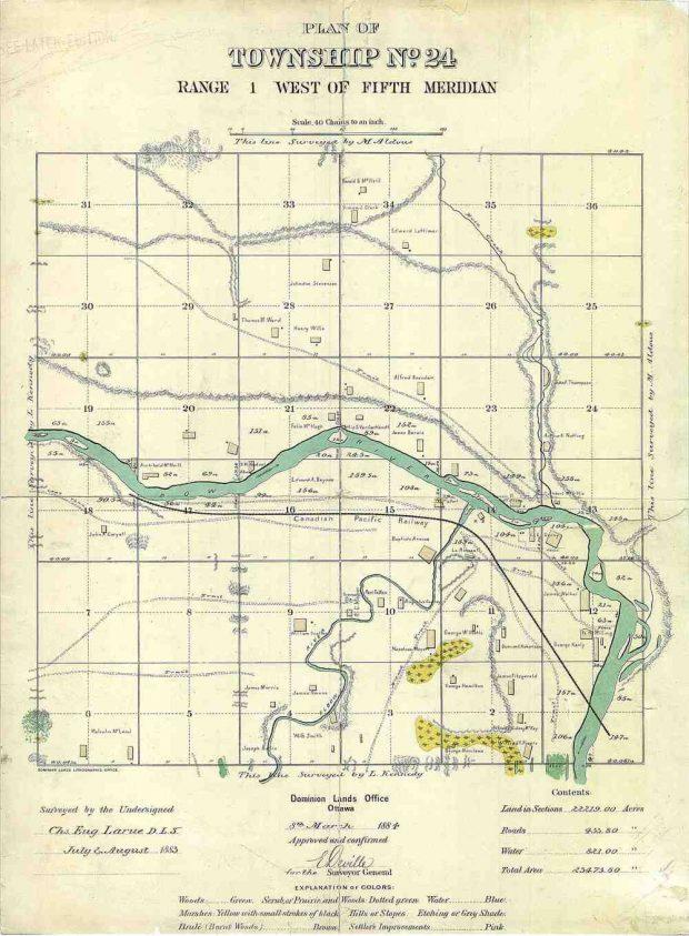 Carte de Calgary, 1883