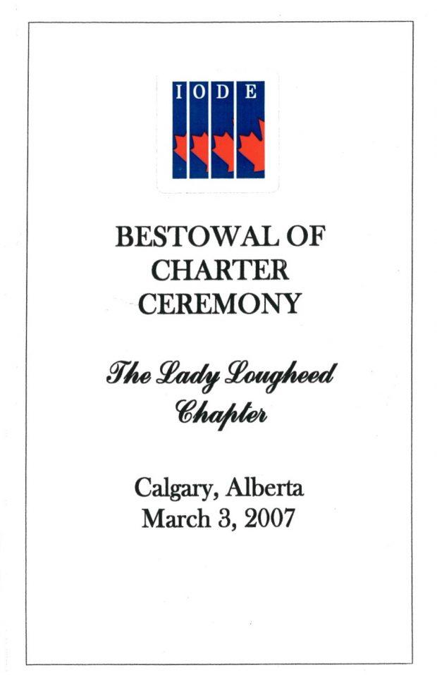 Couverture du dépliant de la cérémonie d'octroi de la charte pour la section de Lady Lougheed de l'OIFE