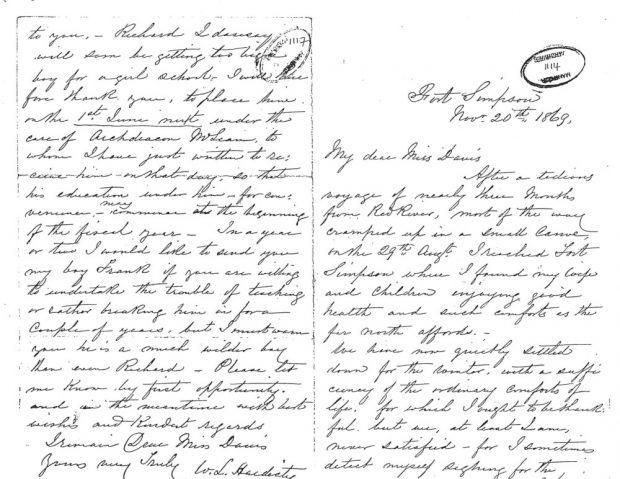 Lettre manuscrite de William Hardisty à mademoiselle Davis