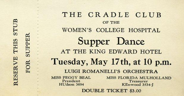 Billet pour un concert de l'Orchestre Luigi Romanelli présenté par le Cradle Club of Women's College Hospital à l'hôtel King Edward.
