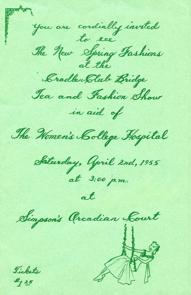 Invitation imprimée à l'événement bridge, thé et défilé de mode du Cradle Club, avec une petite illustration d'une jeune fille sur une balançoire.
