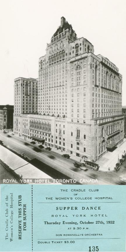 Billet pour un événement de collecte de fonds du Cradle Club et photo de l'extérieur de l'hôtel Royal York.
