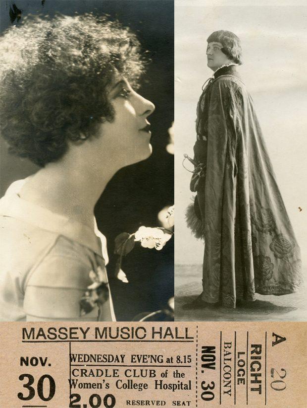 Souvenirs du concert de collecte de fonds du Cradle Club tenu au Massey Music Hall en novembre 1932 incluant deux photos, dont une de la soprano canadienne Jeanne Mignolet et l'autre du ténor canadien-français George Dufresne, ainsi qu'un talon de billet.