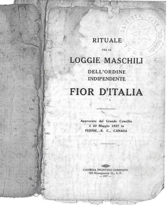 Une Brochure De La Societe Italienne Ordine Indipendente Fior D Italia Ordre Independant Fleur D Italie Fernie C B 1927 La Communaute Des Italiens De Fernie 1881 1921