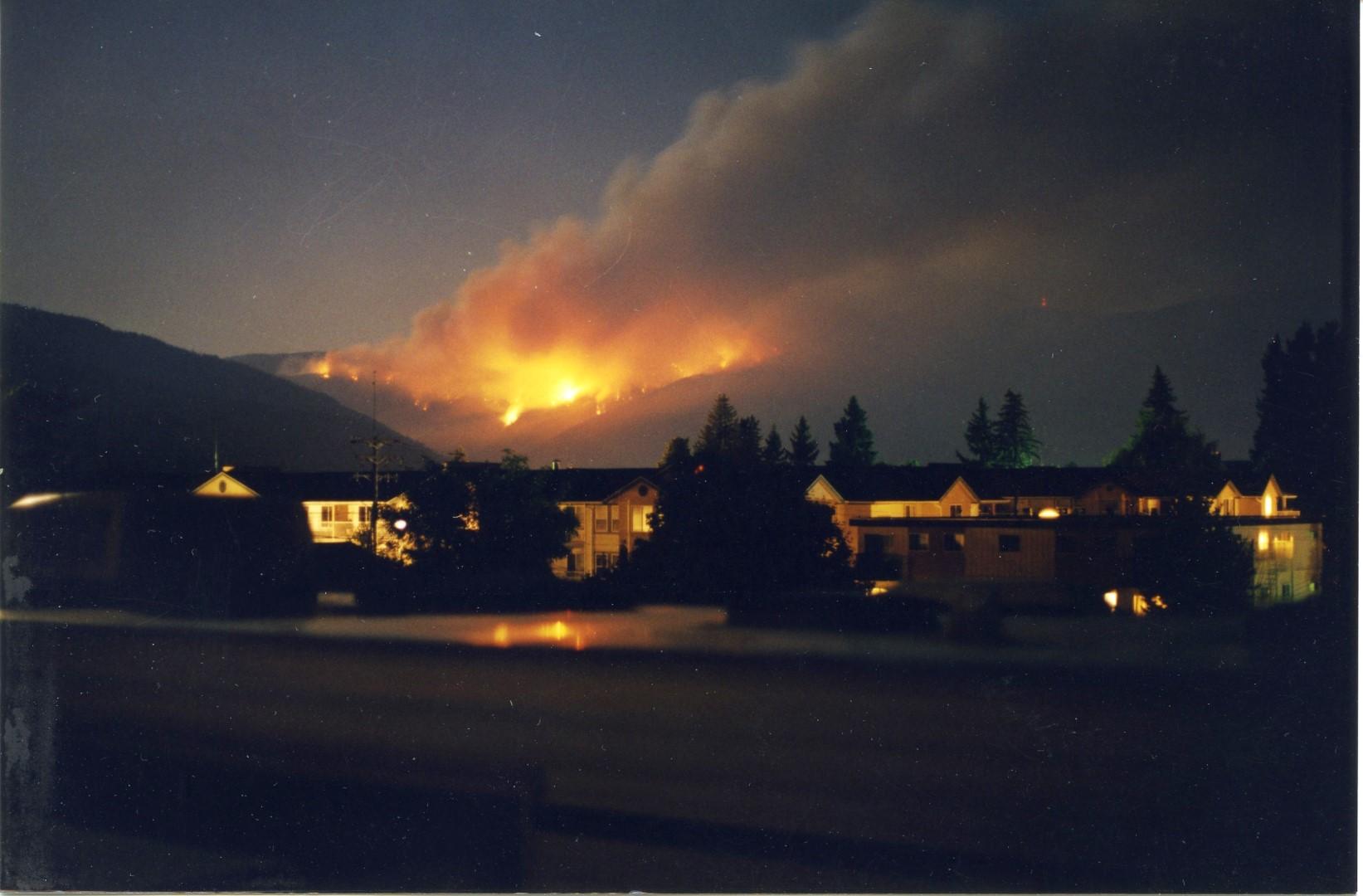 Incendie faisant rage la nuit. Bâtiments éclairés au premier plan.