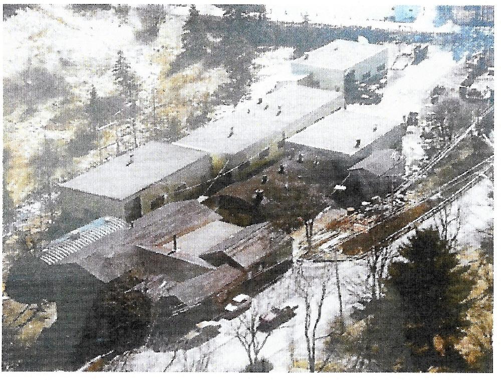 Un groupe de quatre bâtiments en métal qui, dans les années 60, ont remplacé l'ancienne fonderie. Autour se trouvent quatre bâtiments au toit arrondi que l'entreprise utilisait pour le stockage et comme lieu de fonte et de soudage.