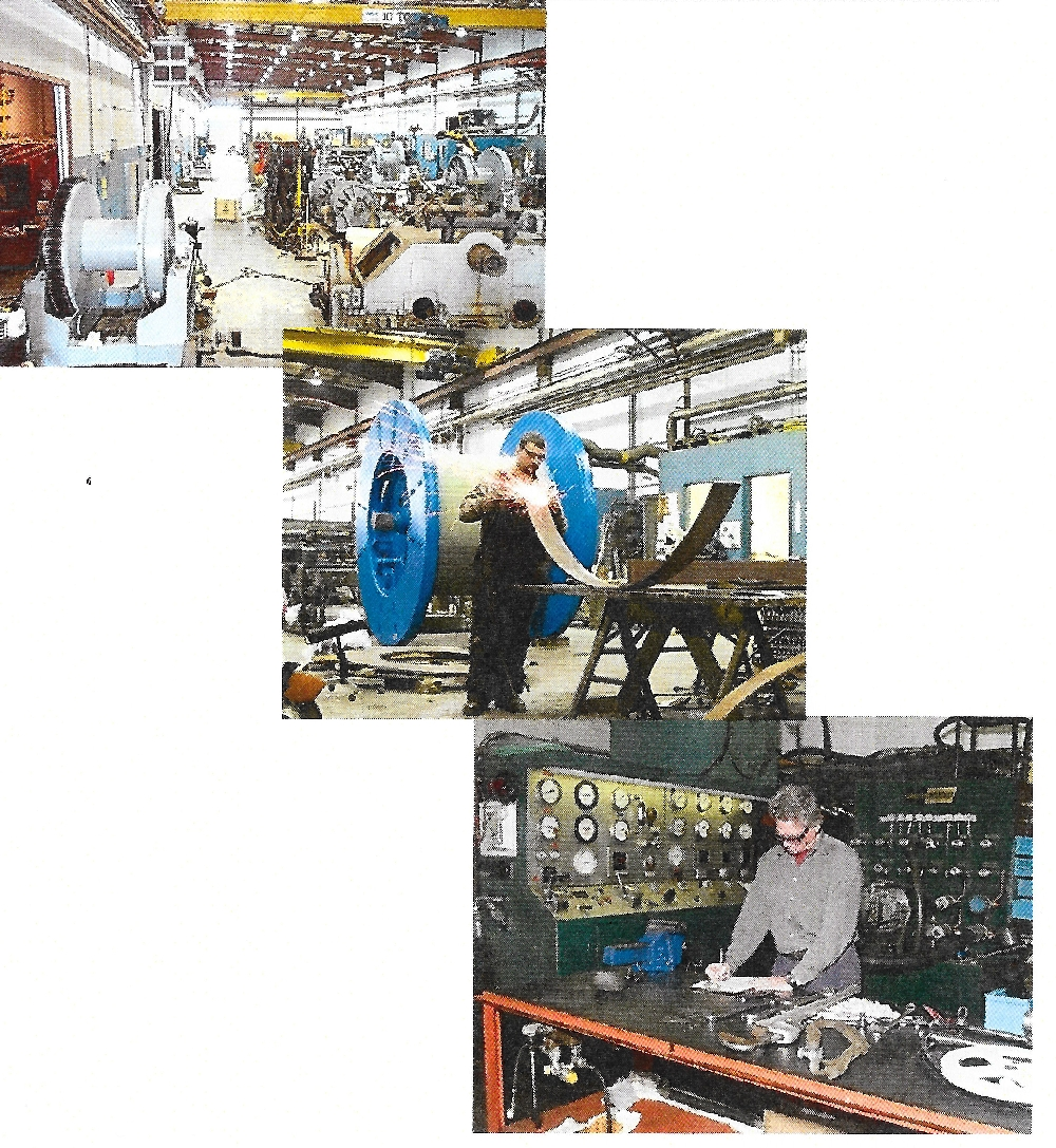 Une photo en couleur de trois endroits à l'intérieur de Hawboldt Industries. La photo du haut montre l'espace de travail principal et l'équipement utilisé ; la seconde un employé à son poste de travail qui soude un morceau de métal; la dernière un employé debout à son bureau travaillant à la conception d'un projet en face d'une série de cadrans.