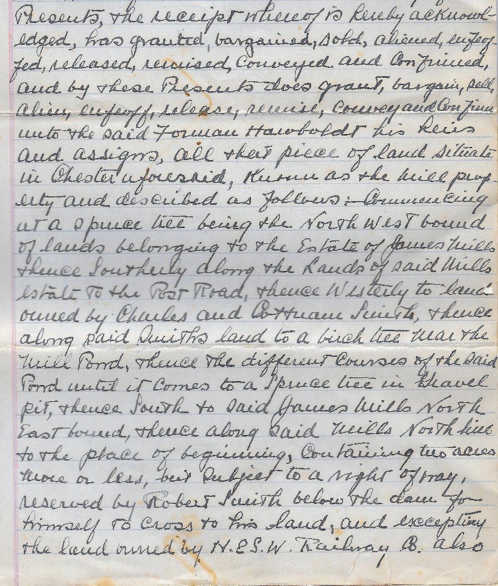 Une copie de la première page manuscrite de l'acte notarié transférant le terrain   pour la fonderie et le terrain de la maison à Forman Hawboldt ses héritiers et ayants droit. Il décrit en détail les terrains de la maison et de la fonderie.