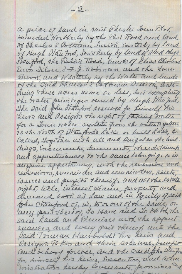 Une copie de la seconde page manuscrite de l'acte notarié transférant le terrain   pour la fonderie et le terrain de la maison à Forman Hawboldt ses héritiers et ayants droit.
