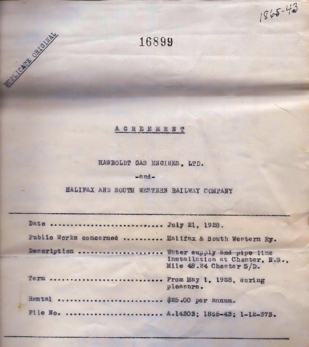 Une copie de l'entente entre Hawboldt Gas Engines et la Halifax and Southwestern Railway Company pour l'approvisionnement en eau à partir du 1er janvier 1928 pour 35$ par an.